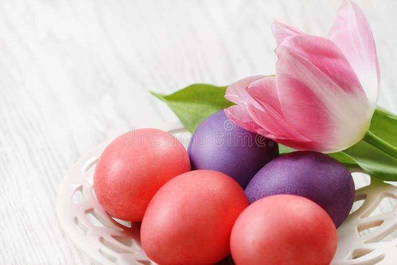 Oeufs de pâques avec la tulipe photos stock