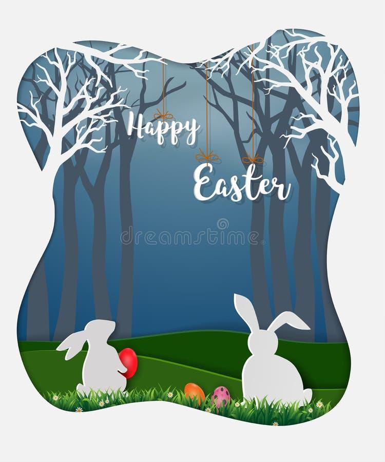 Oeufs de pâques avec les lapins blancs et la petite marguerite dans la forêt, fond de papier mignon d'art pour des vacances heure illustration libre de droits