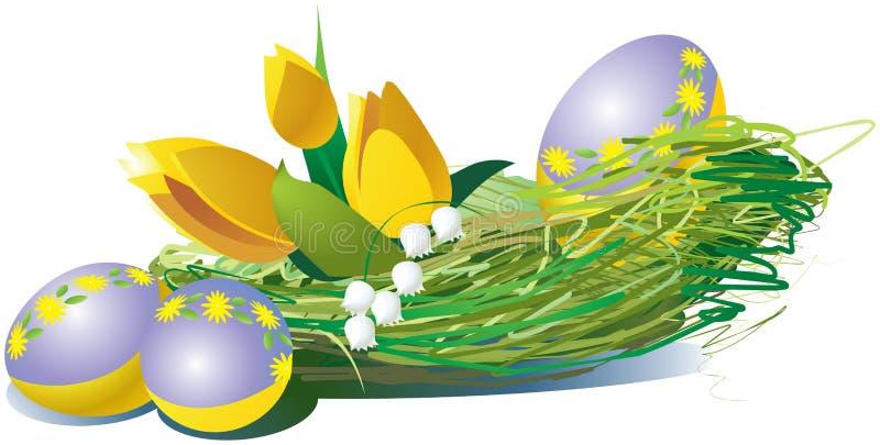 Oeufs de pâques avec les tulipes jaunes illustration de vecteur