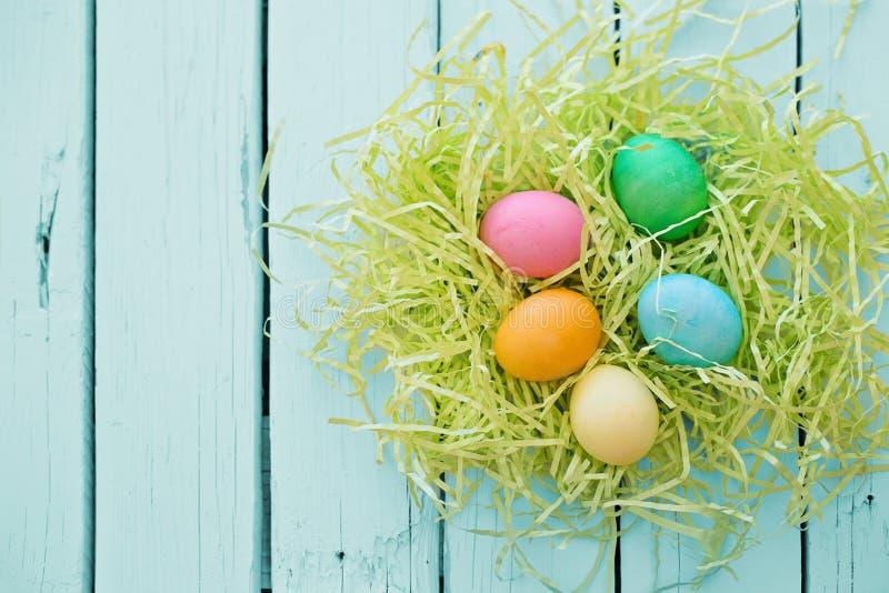 Oeufs de pâques colorés dans un nid sur un fond en bois bleu photo libre de droits