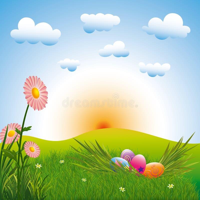 Oeufs de pâques colorés de vacances de Pâques avec des fleurs illustration stock