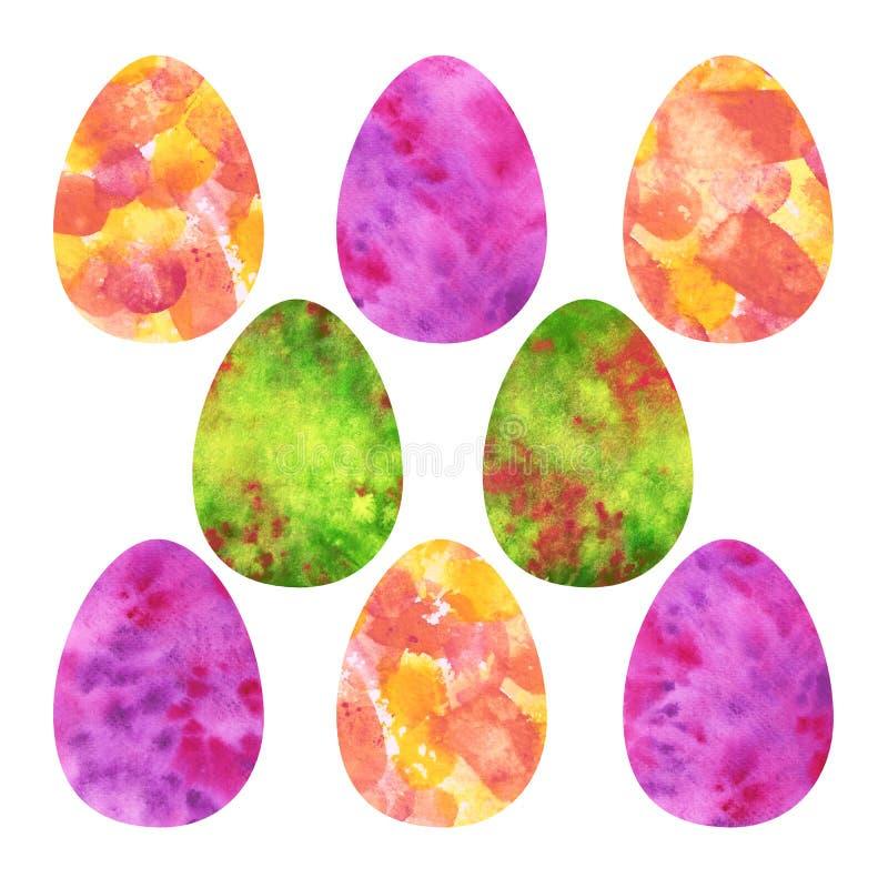 Oeufs de pâques colorés Jaune, rose, taches vertes d'aquarelle illustration libre de droits