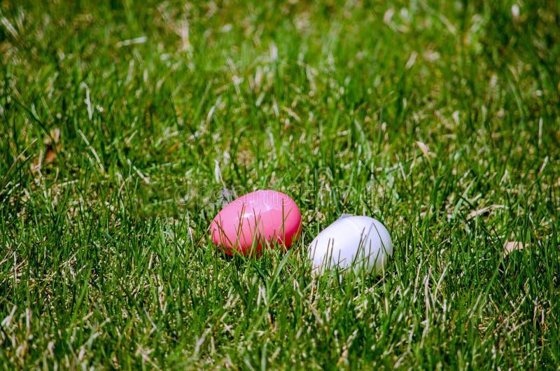 Oeufs de pâques dans l'herbe photos stock