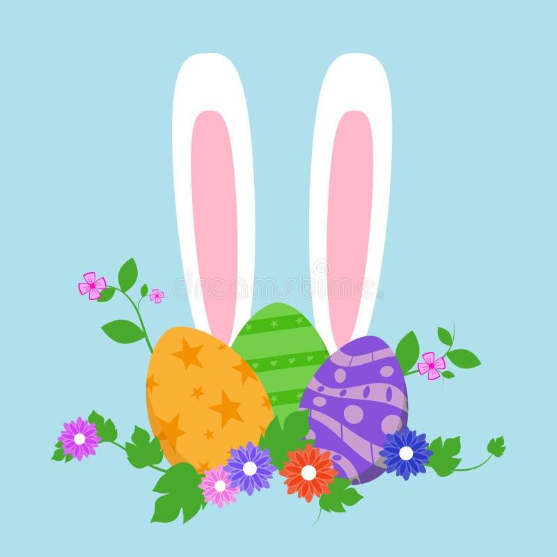 Oeufs de pâques dans l'herbe verte avec des fleurs, d'isolement sur le fond blanc Illustration de vecteur illustration stock