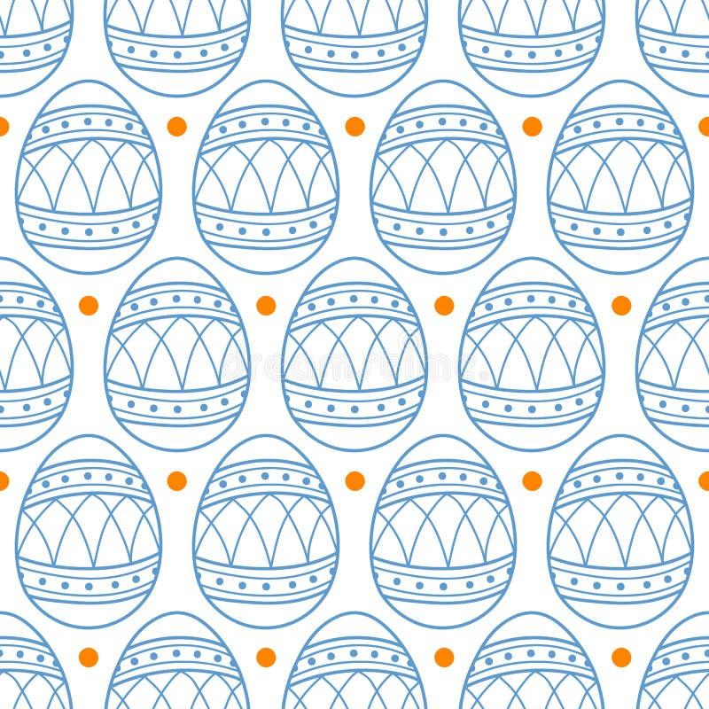 Oeufs de pâques dans les points bleus d'ensemble et d'orange illustration libre de droits