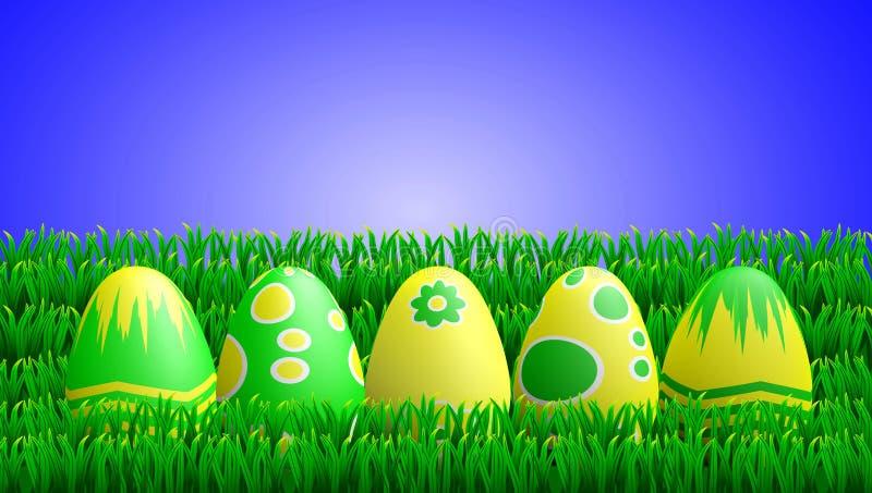 Oeufs de pâques de vert jaune dans l'herbe illustration libre de droits