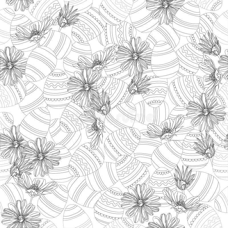 Oeufs de pâques et fleurs de ressort en noir et blanc illustration libre de droits