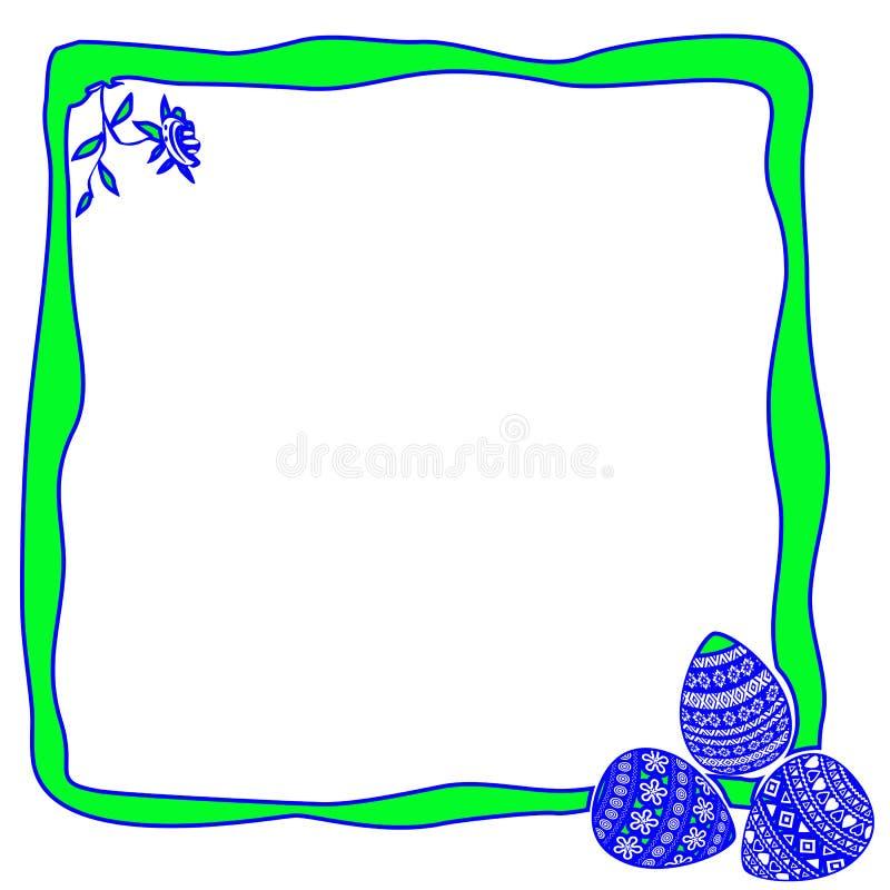Oeufs de pâques et frontière de fleur sur le fond blanc image libre de droits