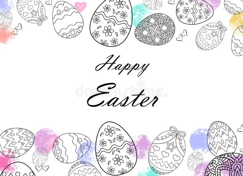 Oeufs de pâques heureux dessinant avec des couleurs image libre de droits