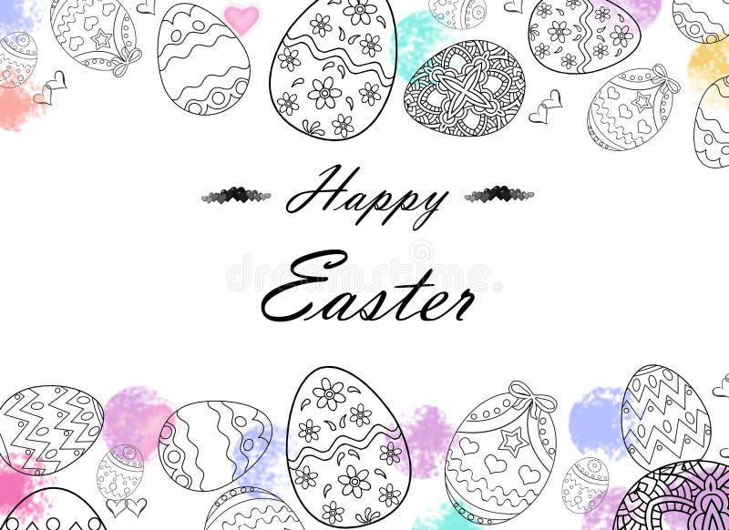 Oeufs de pâques heureux dessinant avec des couleurs illustration libre de droits