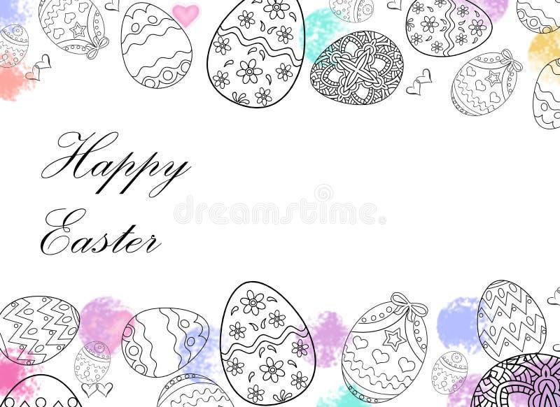 Oeufs de pâques heureux dessinant avec le fond de couleur et blanc illustration libre de droits