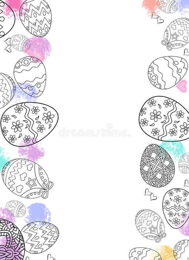 Oeufs de pâques heureux dessinant avec le fond de couleur et blanc image libre de droits