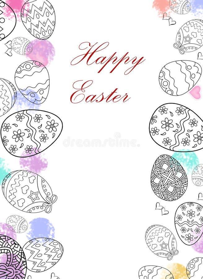 Oeufs de pâques heureux dessinant avec le fond de couleur et blanc illustration stock