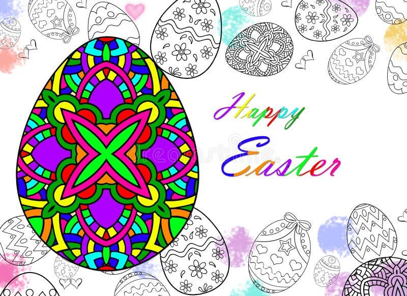 Oeufs de pâques heureux dessinant avec le fond de couleur et blanc photo libre de droits