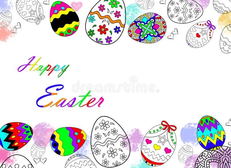 Oeufs de pâques heureux dessinant avec le fond de couleur et blanc images stock