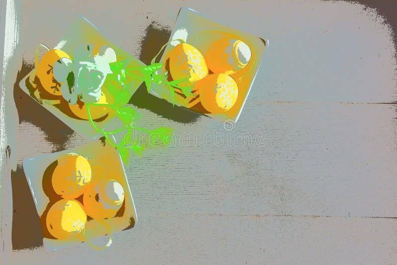 Oeufs de pâques jaunes avec le fond en bois clair illustration stock