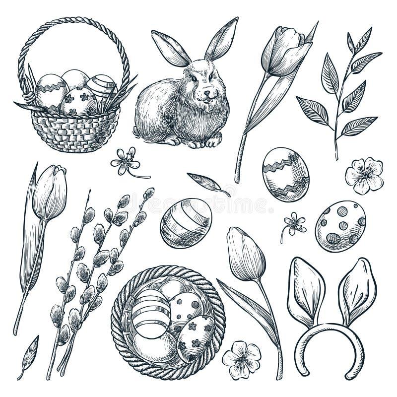Oeufs de pâques, panier, lapin, saule et tulipes Illustration de croquis de vecteur Ensemble d'éléments de conception de vacances illustration de vecteur