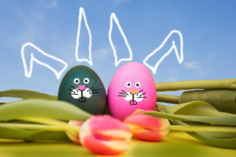 Oeufs de pâques peints avec le visage de lapin et le ciel bleu, se situant dans les tulipes, concept de ressort de Pâques photographie stock