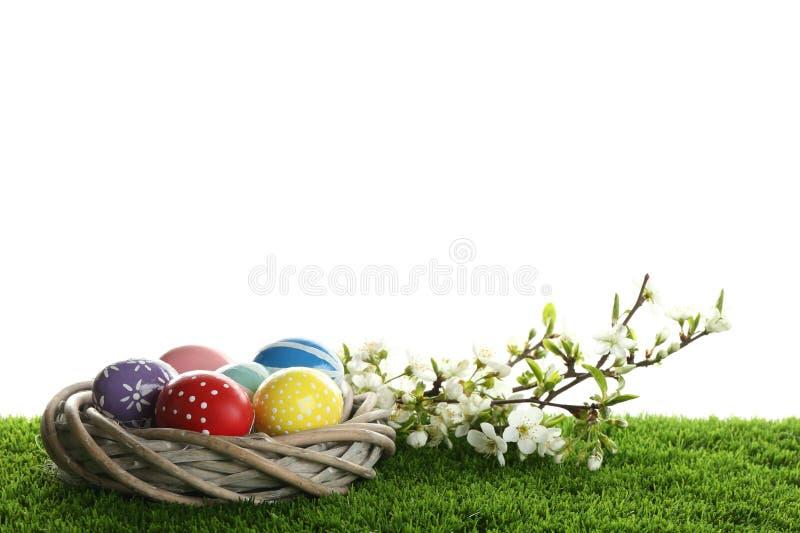 Oeufs de pâques peints dans le nid et branches se développantes sur l'herbe verte photographie stock