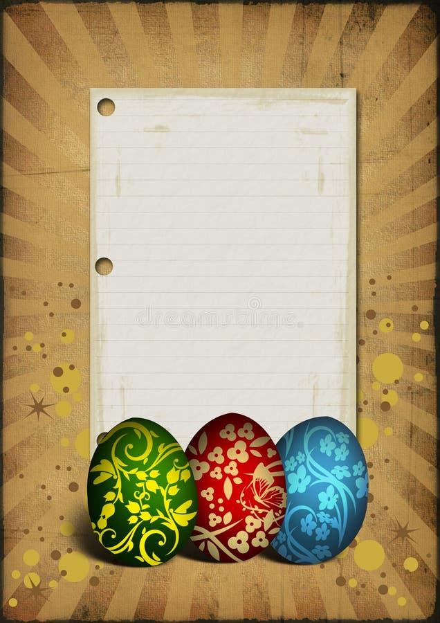 Oeufs de pâques peints sur le fond de cru illustration stock