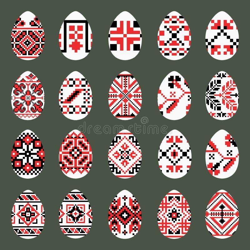 Oeufs de pâques réglés dans le style ukrainien traditionnel photos libres de droits