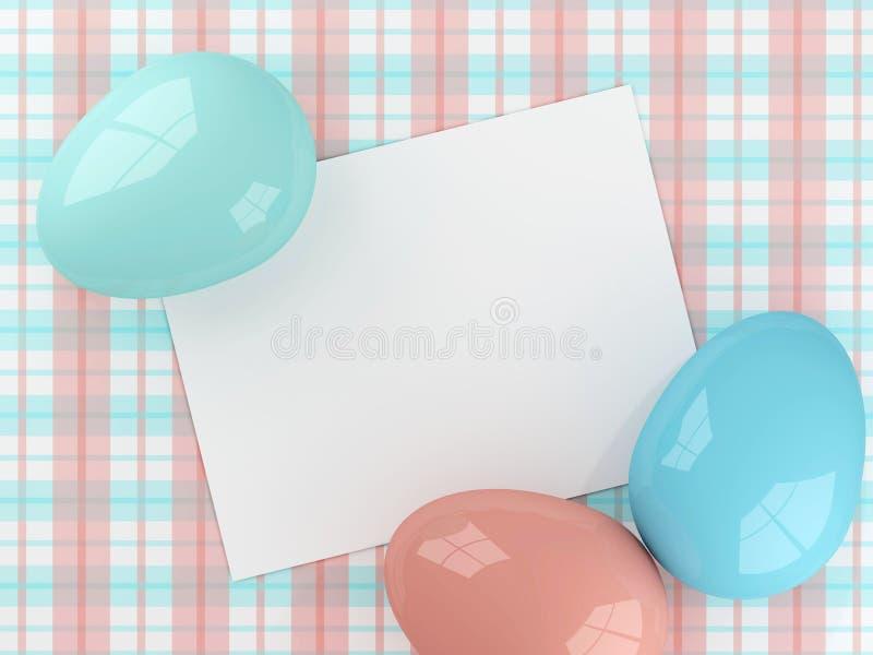 Oeufs de pâques se trouvant sur la nappe de plaid avec la note illustration libre de droits