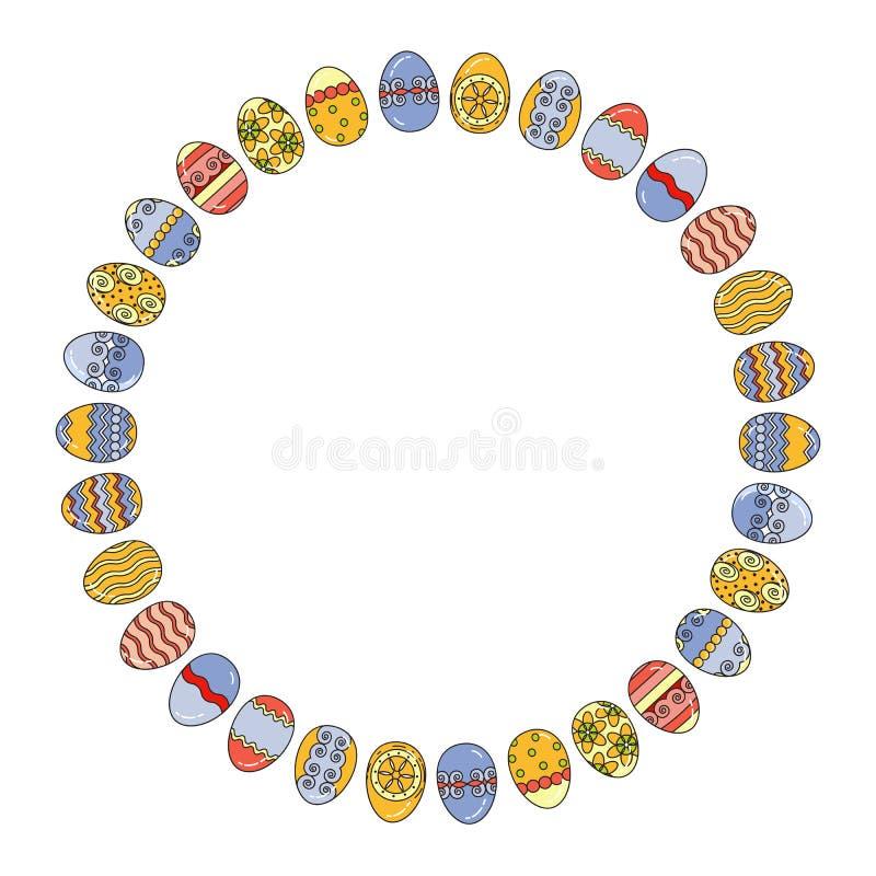 Oeufs de pâques de vecteur disposés en cercle Éléments de vacances illustration de vecteur