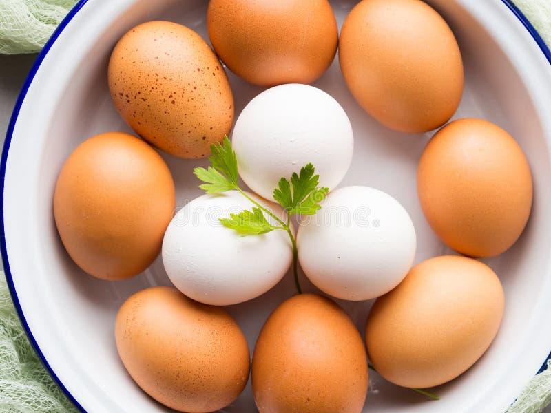 Oeufs de poule blancs et bruns dans la cuvette image stock