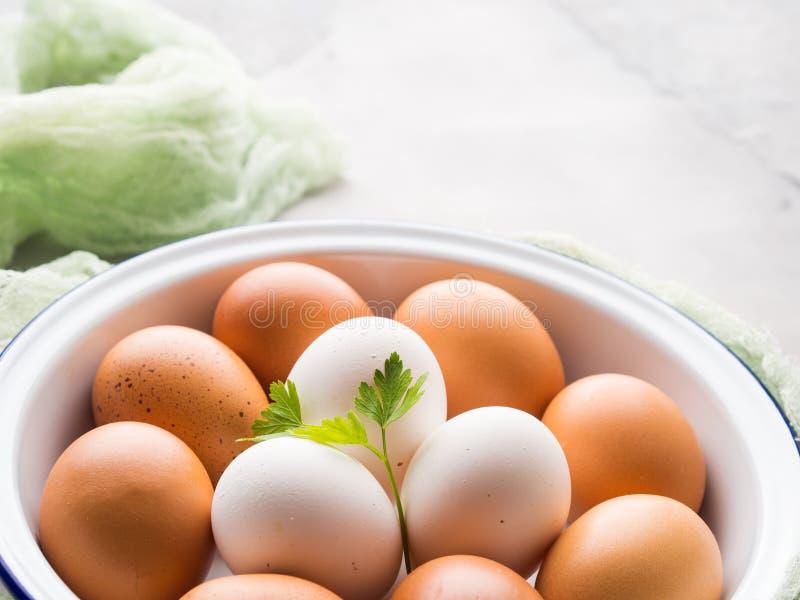 Oeufs de poule blancs et bruns dans la cuvette photo stock