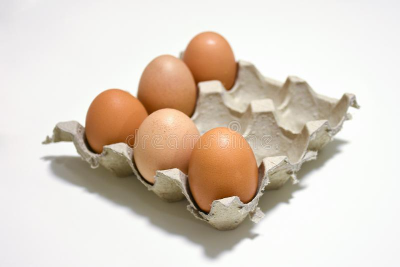 Oeufs de poulet de Brown dans la boîte de carton de papier sur le fond blanc photographie stock libre de droits