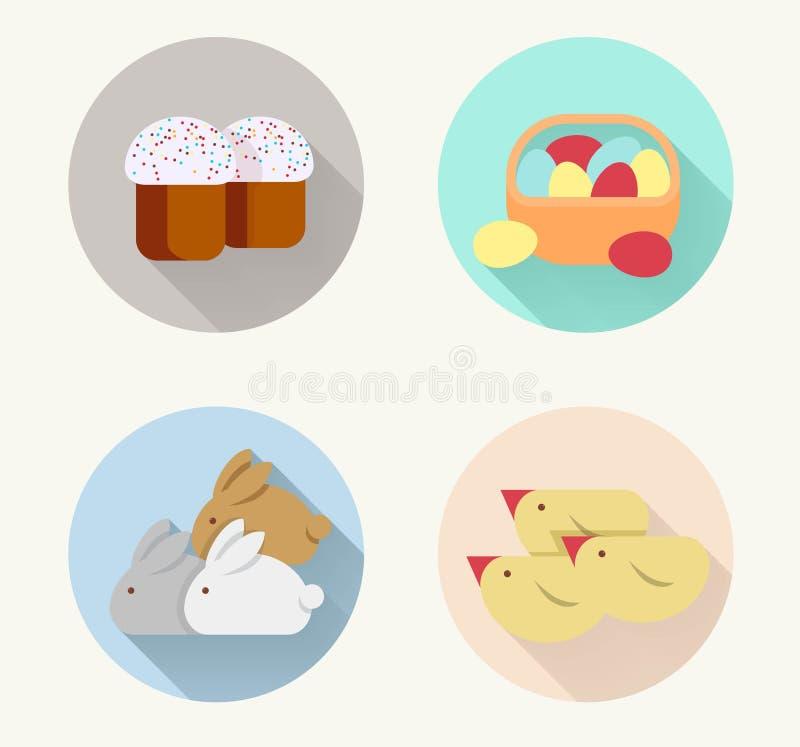 Oeufs de poulet de gâteau de Pâques de lapin d'icône de Pâques images libres de droits