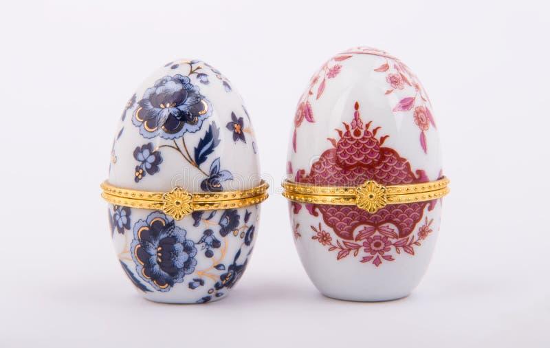 Oeufs en céramique décoratifs de Faberge photographie stock libre de droits