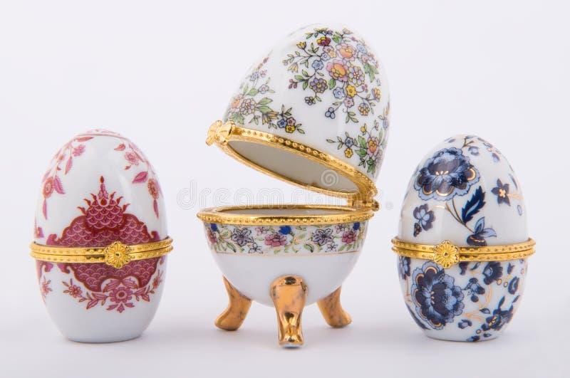 Oeufs en céramique décoratifs de Faberge photo libre de droits