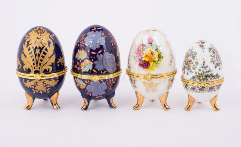 Oeufs en céramique décoratifs de Faberge image libre de droits