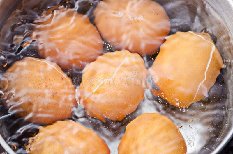 Oeufs en eau bouillante dans la casserole images libres de droits