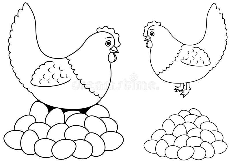 OEufs et Hen Line Art illustration stock