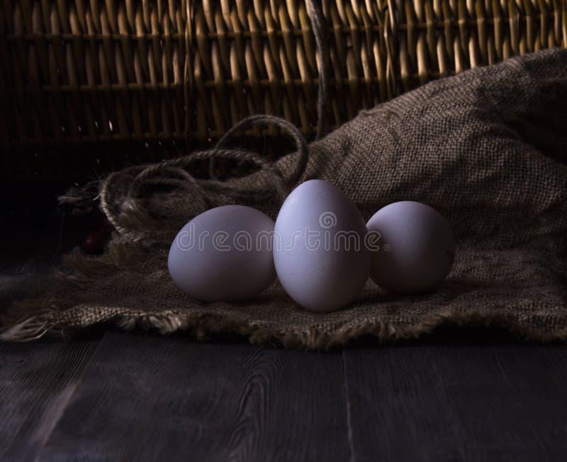 Oeufs frais de poulet sur une étagère en bois photo stock