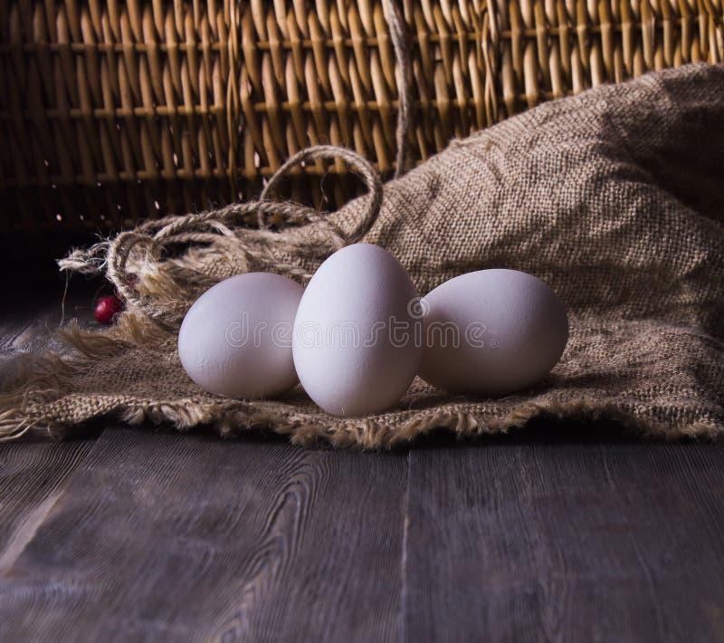 Oeufs frais de poulet sur une étagère en bois photos libres de droits