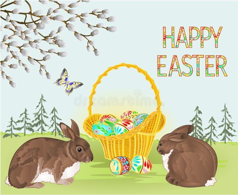 Oeufs heureux d'osier de Pâques de forêt de paysage de ressort de Pâques et de pâques et lapins et papillon dans l'illust de vect illustration libre de droits