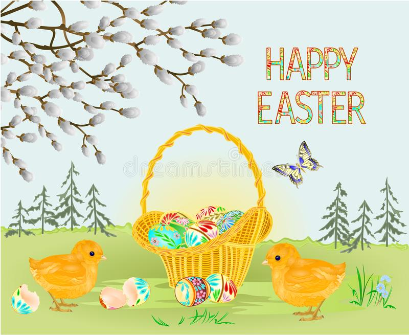 Oeufs heureux d'osier de Pâques de forêt de paysage de ressort de Pâques et de pâques et papillon de poussins de Pâques dans l'he illustration libre de droits