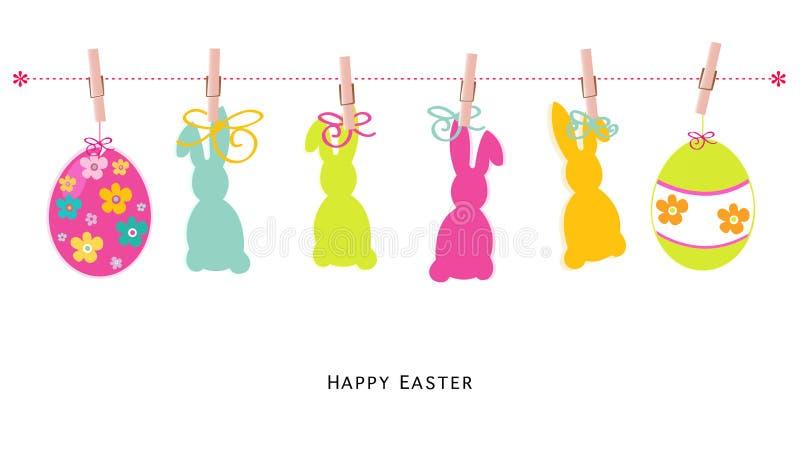 Oeufs heureux de silhouette de Pâques, lapin, vecteur de carte de voeux de poussin illustration libre de droits
