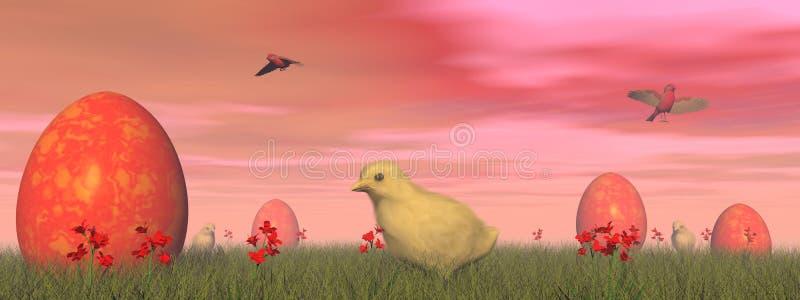 Oeufs rouges de Pâques - 3D rendent illustration de vecteur