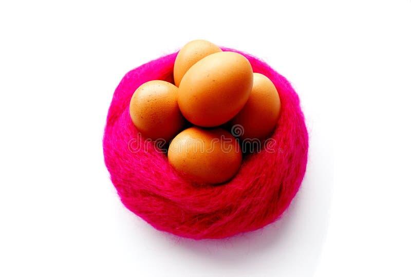 5 oeufs sur le tissu rose photographie stock libre de droits