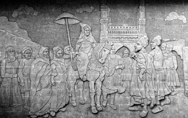 oeuvre d'art sur le mur d'un lieu public dépeignant l'histoire des règles de Hyderabad photos stock