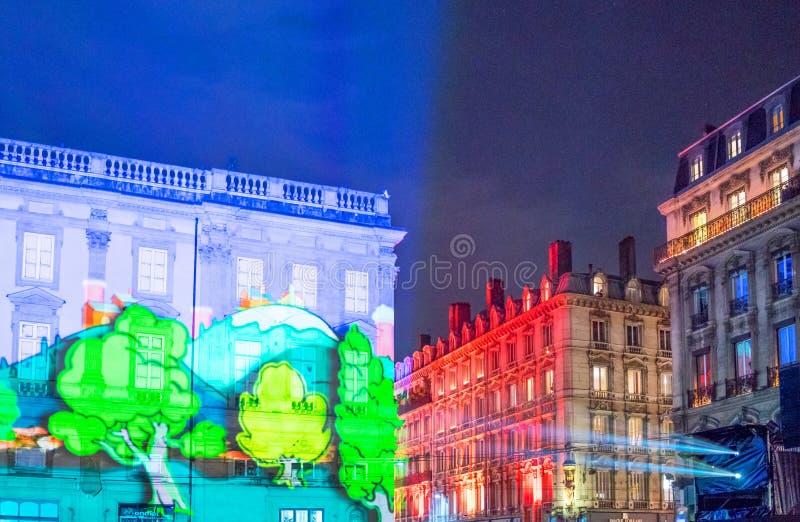 Oeuvres d'art du festival des lumières à Lyon image stock