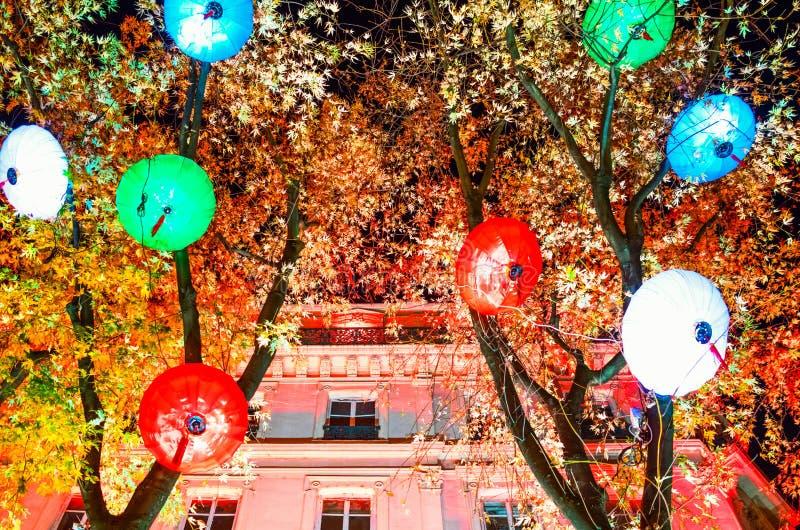 Oeuvres d'art du festival des lumières à Lyon photos stock