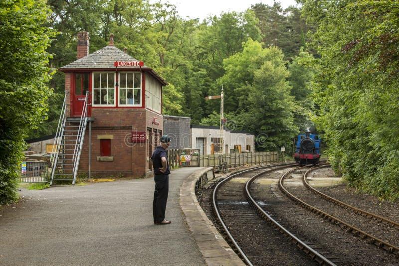 Oever van het meer en Haverthwaite-Spoorweg royalty-vrije stock fotografie