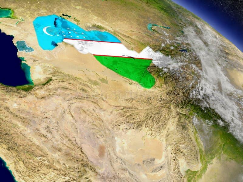 Oezbekistan met ingebedde vlag ter wereld vector illustratie