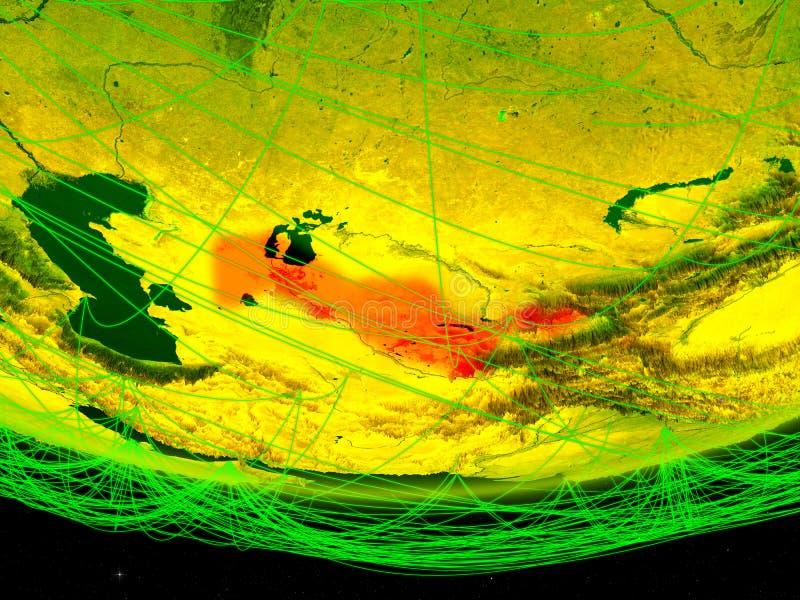 Oezbekistan op groen model van aarde met netwerk die digitaal tijdperk, reis en mededeling vertegenwoordigen 3D Illustratie stock fotografie
