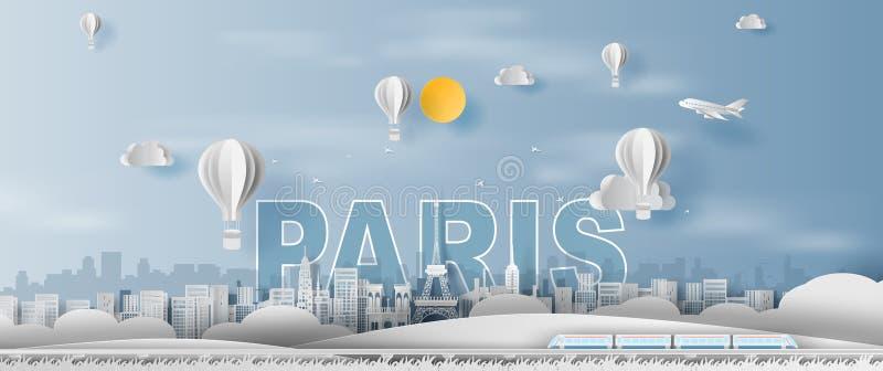 Ofício de papel e corte da cidade de viagem França de Paris da torre Eiffel do feriado, marcos do trem do transporte do tempo do  ilustração stock